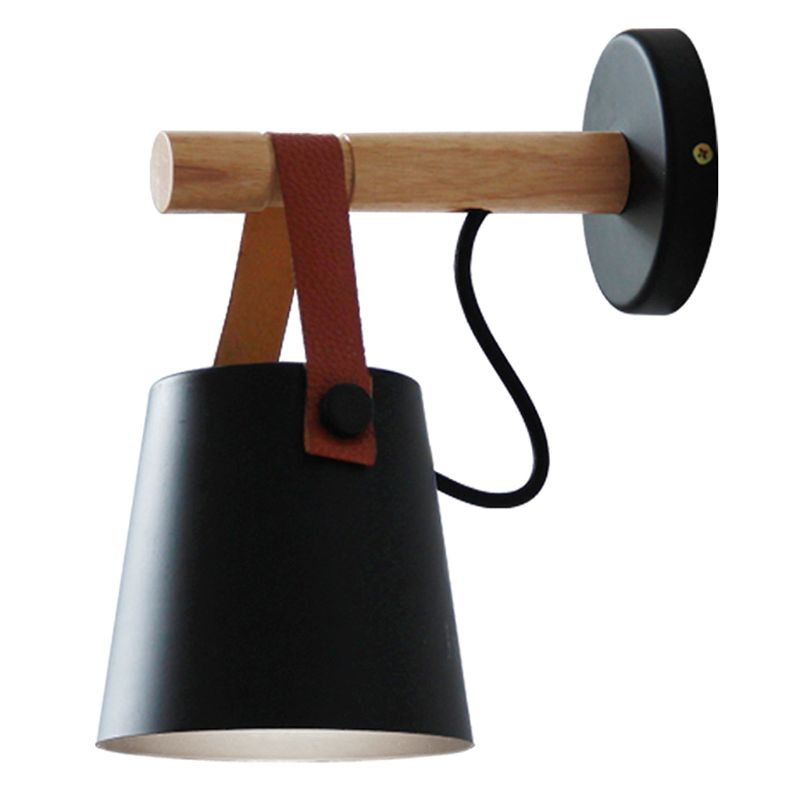 <font><b>Nordic</b></font> LED <font><b>Wall</b></font> <font><b>Lamp</b></font> <font><b>Wood</b></font> Hanging Sconce Modern Bedside Light For Living Room Restaurant image
