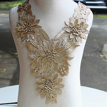 Size39*26cm 5pcs/lot  Free Shipping Gorgeous 3D Metallic Gold Embroidered Sew-on Lace Collar Applique for Garment Decoration