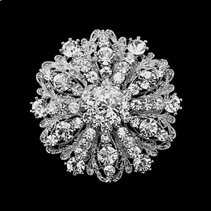 7c3eb60bb6e1 2 pulgadas Estilo Vintage Tono de plata oscuro floral broche del rhinestone  claro diamante fiesta regalo Pasadores
