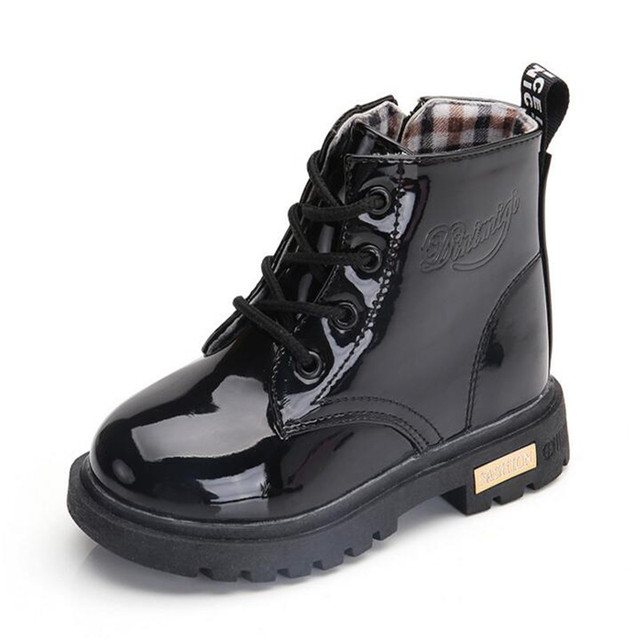 2019 Best-selling Children skin shoes PU waterproof Boys and girls leather shoes outdoor kids sneakers Baby Child Snow Boots