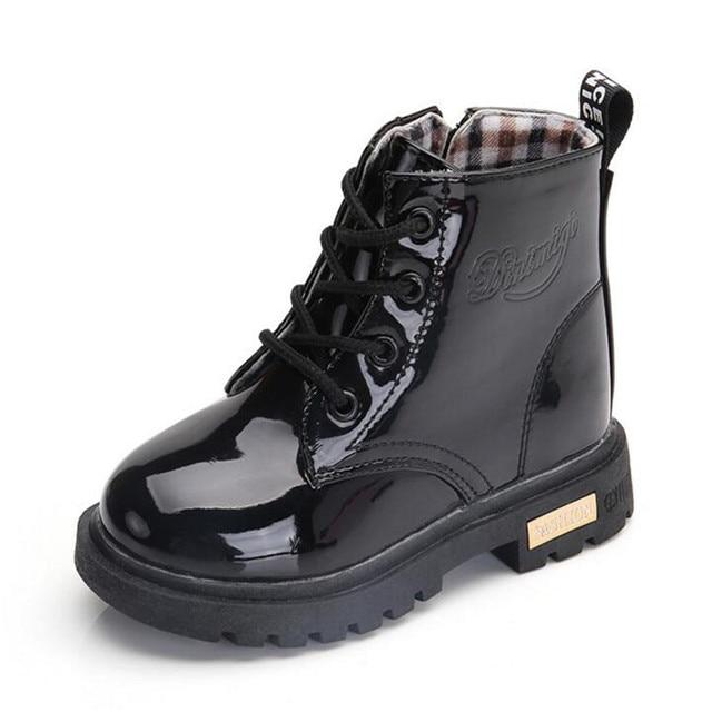 2019 Best verkopende Kinderen huid schoenen PU waterdicht Jongens en meisjes leren schoenen outdoor kids sneakers Baby Kind Sneeuw laarzen