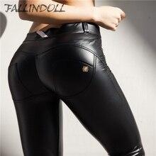 Купить с кэшбэком Women Leather Yoga Pants Push Up Shaping Fitness Leggings Autumn Winter Fleece Inside Tummy Control training tights Fallindoll