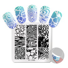 PICT YOU Square Stamping Plates Water Pattern Series Nail Image Stainless Steel Stamp Templates Art Design Tools F002