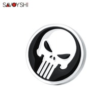 SAVOYSHI Skull Lapel Pin Brooches Gifts for Women/Mens Black Round Enamel Brooch Pins Badge Punk Jewelry Metal Shirt Accessories