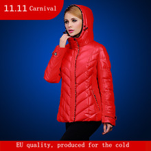 Women coat autumn and winter short design warm jacket with hood for Europe and Russia Brand woman parkas plus size 46-56 v128