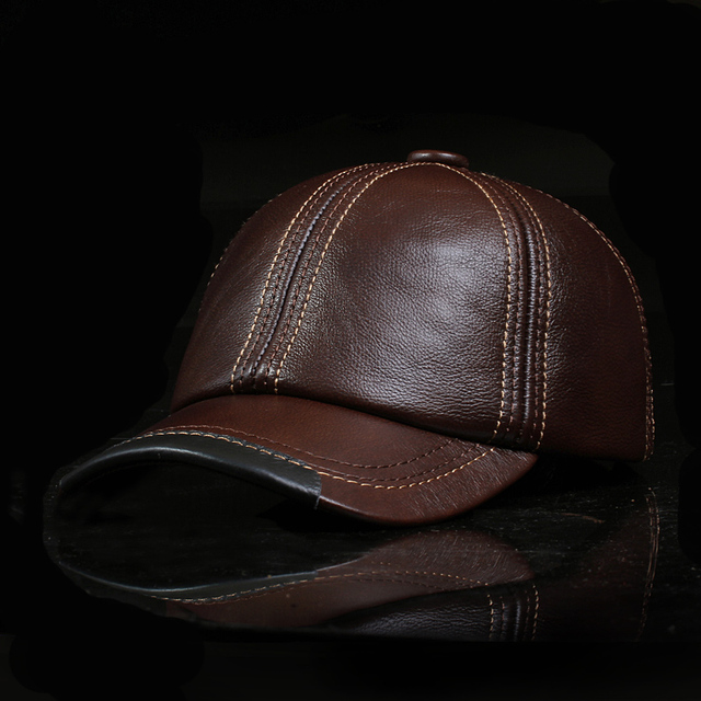 2016 New Men'S Leather Fashion Baseball Caps High Quality First Layer Of Leather Winter Thicker Soft Hat Leisure Snapback Cap