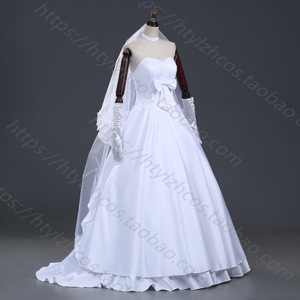 Animation Cos Store 2016 Fate Stay Night Or Fate Zero Saber White Wedding Dress Cosplay Costume