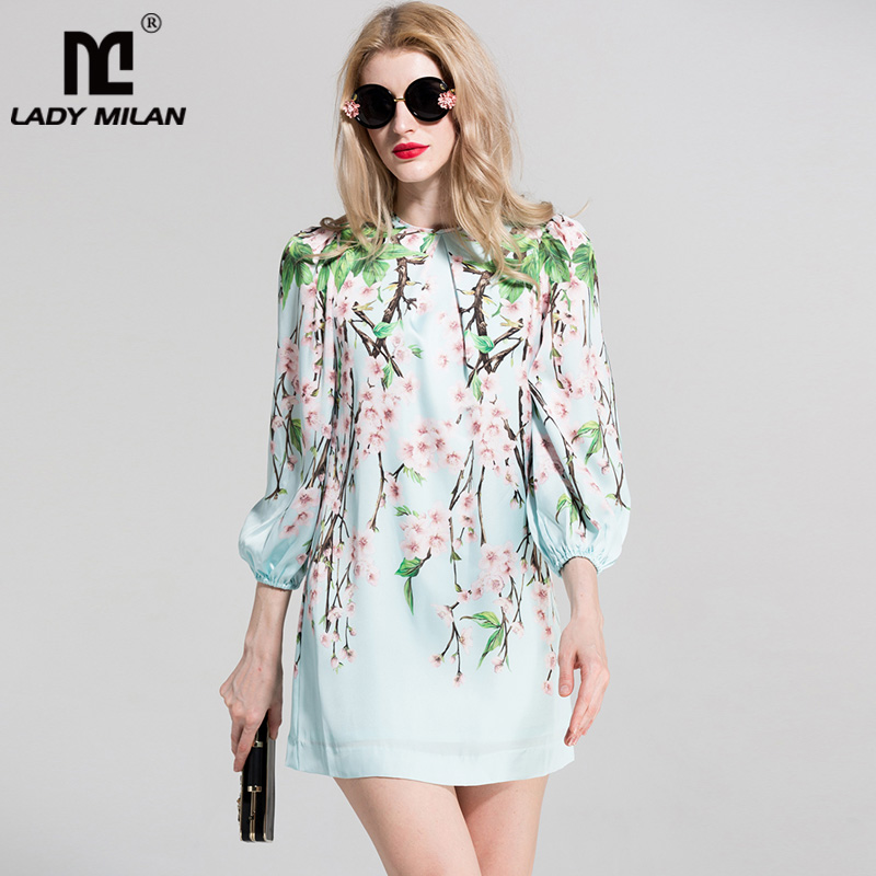 New Arrival 2018 Womens O Neck 3/4 Sleeves Printed Floral A Line Fashion Casual Short Dresses