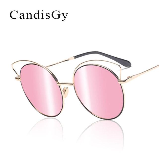0c6f46ab702921 Frauen Spiegel Rosa Vintage Blume Hipster Katzenaugen-sonnenbrille Mode-marke  Designer aushöhlen Dame Sonnenbrille
