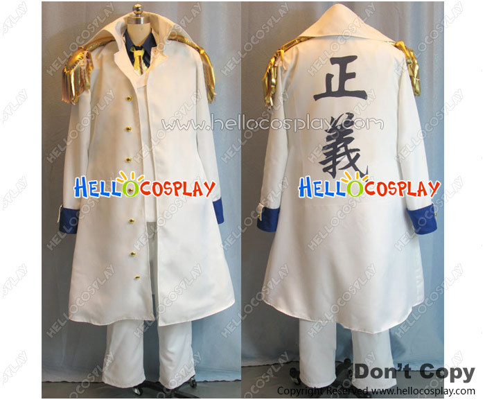Japanese Anime Outfit One Piece Cosplay Aokiji Kuzan Costume Admiral Sakazuki White Coat H008