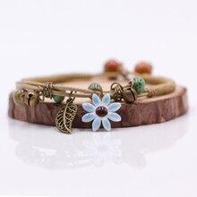 Women's Flower leaf Ceramic hand made DIY Bracelets Artware Retro bracelet for woman