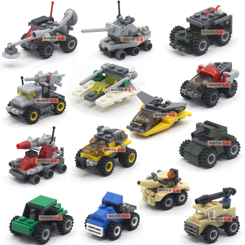 12Styles Mini Transportation Block Car Racer Assembled Building Blocks Compatible Military Model Bricks Toys For Kids No Box