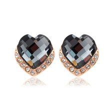Cute Rose Gold Color Peach Heart w/ Gray Hot Pink Austria Crystal Stud Earrings For Women Girls Jewelry Aros Pendientes aretes(China)