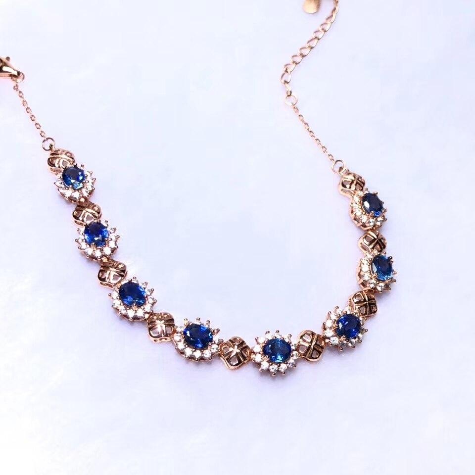 blue Sapphire gemstone bracelet with silver jewelry