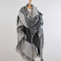 Fashion Top Blanket Scarf Female Cashmere 2015 Winter Women Plaid Pashmina Wool Thick Shawl Rough Selvedge