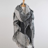 Fashion Top Blanket Scarf Female Cashmere 2015 Winter Women Plaid Pashmina Wool Thick Shawl Rough Selvedge