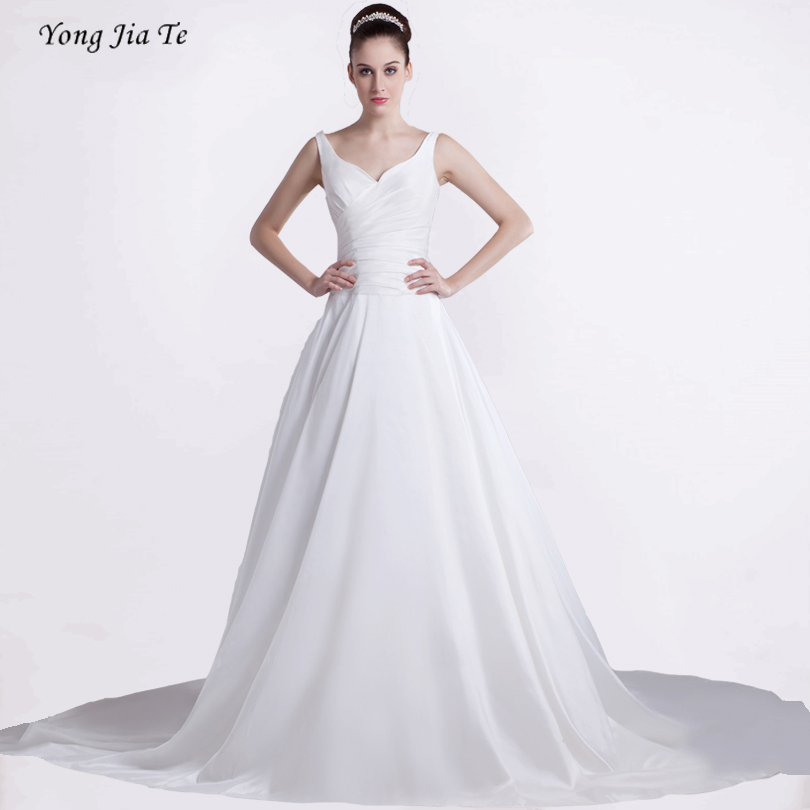Women Wedding Dress Deep V Neck Sleeveless Back Cross