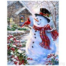 5D DIY Diamond Embroidery Cabin Christmas Snowman Landscape Photo Cross Stitch Full Square/Round diamond painting gift