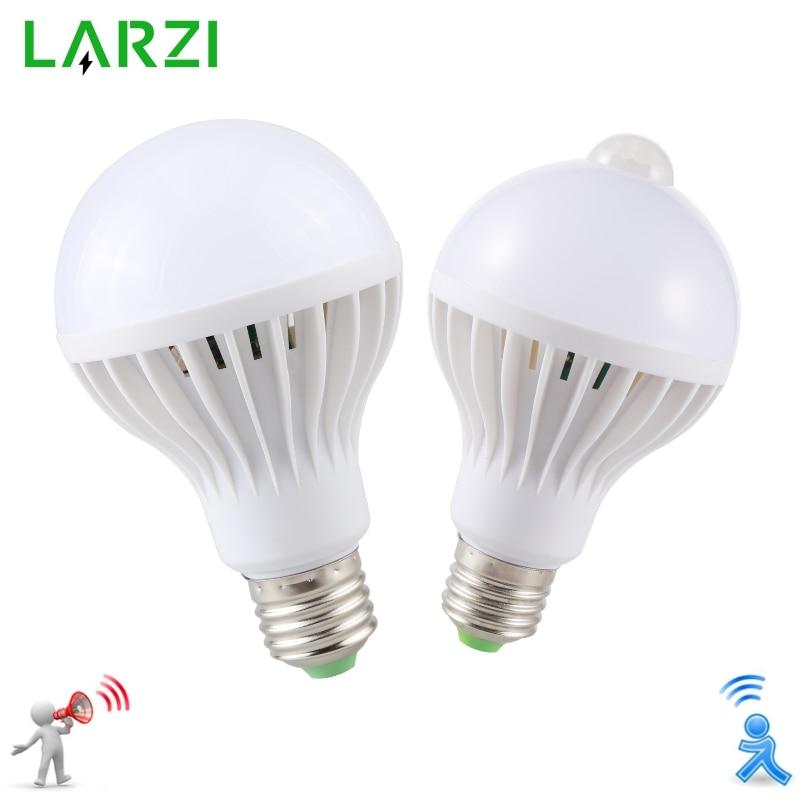 LARZI LED PIR Motion Sensor Lamp 3w 5w 220v Led Bulb 7w 9w Auto Smart Led PIR Infrared Body Sound Light E27 Motion Sensor Light