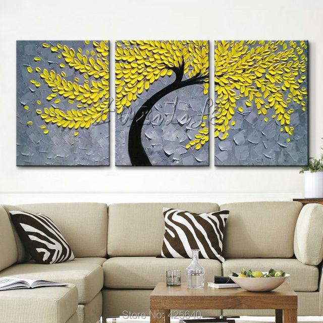 Awesome Canvas Painting Of Palette Knife Hand Painted Tree , Painting Of Flower On  Canvas ,Wall Part 4