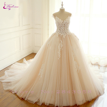 Waulizane Charming Embroidered and tulle 3D Cute Little Flowers Wedding Dresses  Shiny Sleeves Bride