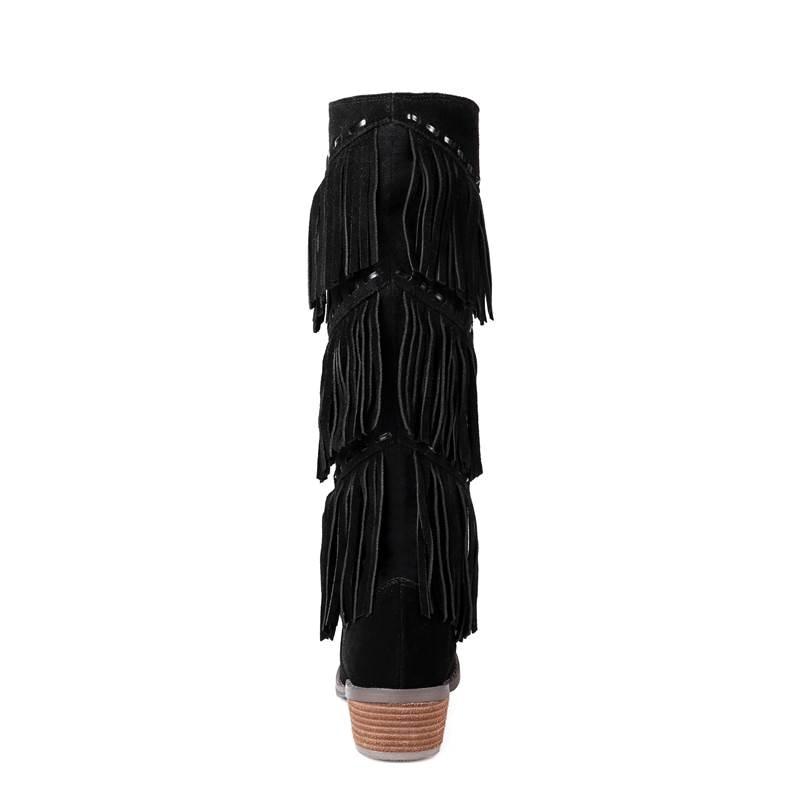 Pour Daim Brown 2018 mollet Talon Hiver Vache Sans Memunia En Femmes Med Bottes Lacets Gland Grande noir Mi Épais 33 Mode Taille Nouveau 43 IIPqBxnf