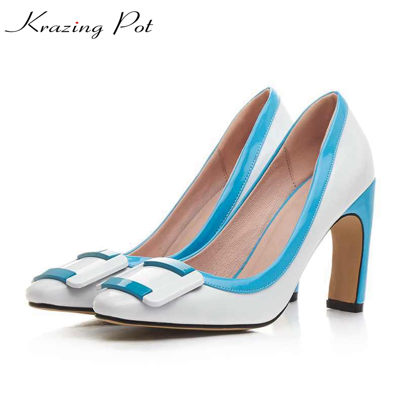 krazing Pot women pumps slip on PU patent leather high heels mixed color square toe plus size medal buckle nude work shoes L1f3 2017 krazing pot shoes women fashion med heels genuine leather pearl pumps slip on lady shoes square toe nude work pumps l3f2