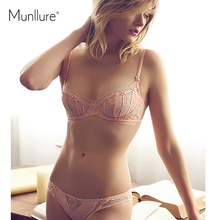 Munllure Full transparent bra perspectivity underwear embroidery sexy lace bra ultra-thin women's cover