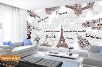 Custom Travel Handing Painting Wallpaper Mural World Famous Scenic Spots On White Cubes Tv Sofa Bedroom
