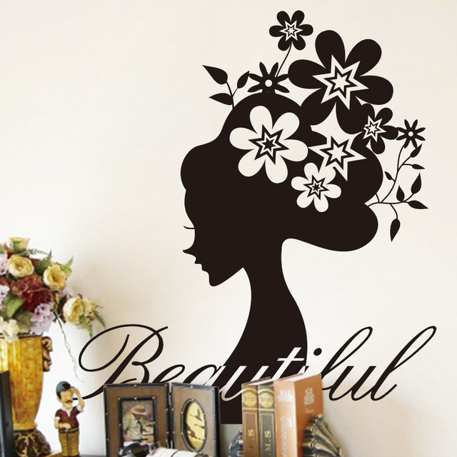 Art App Unique Design Home Decoration Collage Large Pvc Modern Woman Flowers Wall Stickers Decals For
