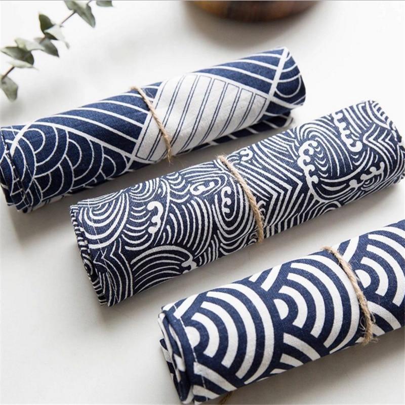 Toile de coton fond de la maison tissu Table serviette décoration serviettes Plaid en forme d'éventail imprimé rétro Style serviette