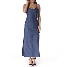 99a72d78acbf5 AIEnny Women 2018 Summer Sexy Strapless Backless Long Maxi Dresses Denim  Solid Casual