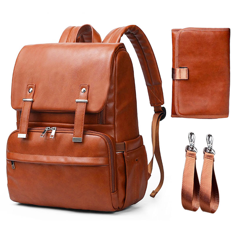 New PU Leather Maternity Backpack Solid Nappy Bag For Stroller Baby Backpack Bags For Mom Dad Diaper Bag Organizer