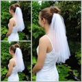 Hot Sale Cheap 2015 In Stock Two Layers Simple Cut Edge Beads White Bridal Veils Wedding Veils Bridal Accessory S2236