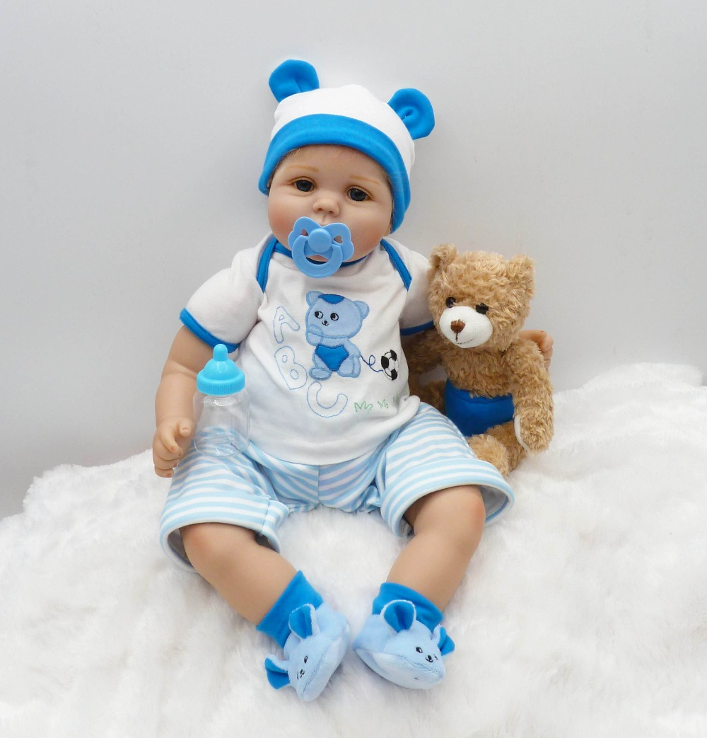 55cm Soft Silicone Reborn Baby Doll Toys Like Real Newborn Toddler Boy Dolls With Plush Bear Fashion Birthday Gift Present new fashion design reborn toddler doll rooted hair soft silicone vinyl real gentle touch 28inches fashion gift for birthday