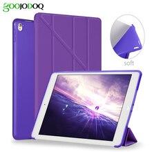 Para iPad Caso Pro 9.7, Para el ipad de Aire 2 de Cuero de LA PU + de Silicona Suave Contraportada Inteligente Múltiple Soporte de Reposo Automático para iPad Aire 2 Coque