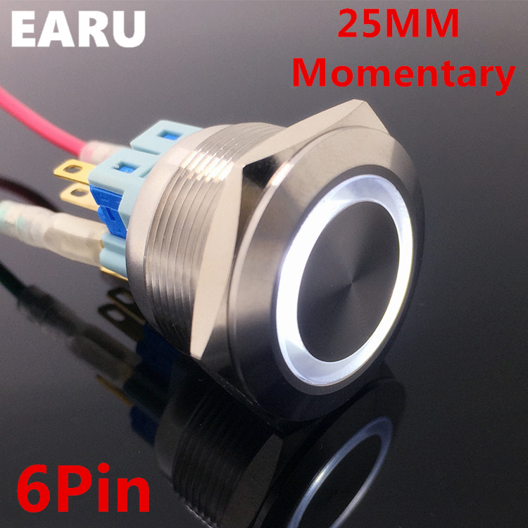 6Pin 25mm Metal Stainless Steel Waterproof Momentary Doorebll Bell Horn LED Push Button Switch Car Auto Engine Start PC Power6Pin 25mm Metal Stainless Steel Waterproof Momentary Doorebll Bell Horn LED Push Button Switch Car Auto Engine Start PC Power