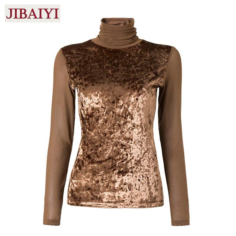 85e1738abb382 Vintage sexy shirt woman spring winter 2018 fleece velvet shirt gauze tops  female turtleneck blouse skinny stretch shirts good