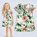 Мода девушки платье Европейский и Американский Стиль Синий сломанной цветок марка девочки платье 2017 Новых прибытия летние девушки одеваются