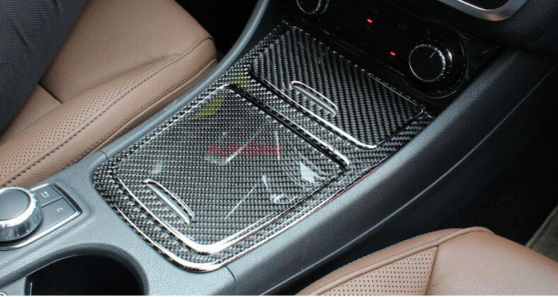 DIY Real Carbon Fiber Console Centre Gear Shift Box Storage Ashtray Cover Trim For Benz GLA class X156 2014 2015 2016