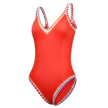 New Arrival Orange Red One Piece Swimsuit Sports Sexy Swimwear Women Shoulder Strap Scoop Back Maillot