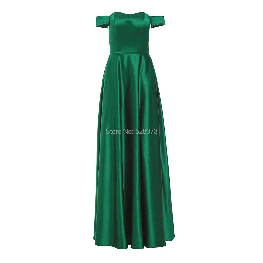 YNQNFS BD44 élégant a-ligne Satin épaule longue robes de demoiselle d'honneur couleur verte vraies photos