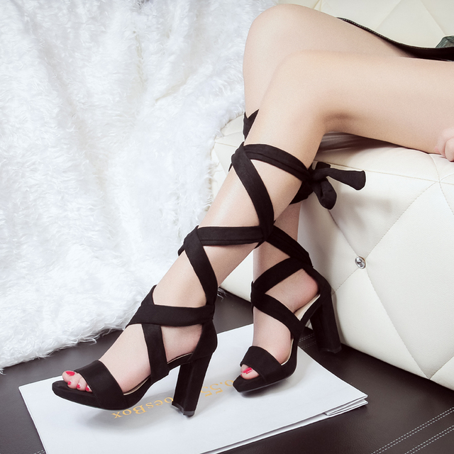 Qitong Woman Flock Square High Heeled Platform Sandals Sexy Gladiator Cross-tied Nightclub and Party Woman Beach Shoes Beige