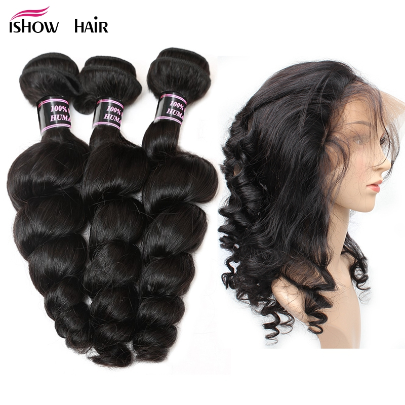 Ishow Malaysian Loose Wave 3 Bundles With 360 Lace Frontal Closure With Baby Hair Non Remy Human Hair Natural Hairline