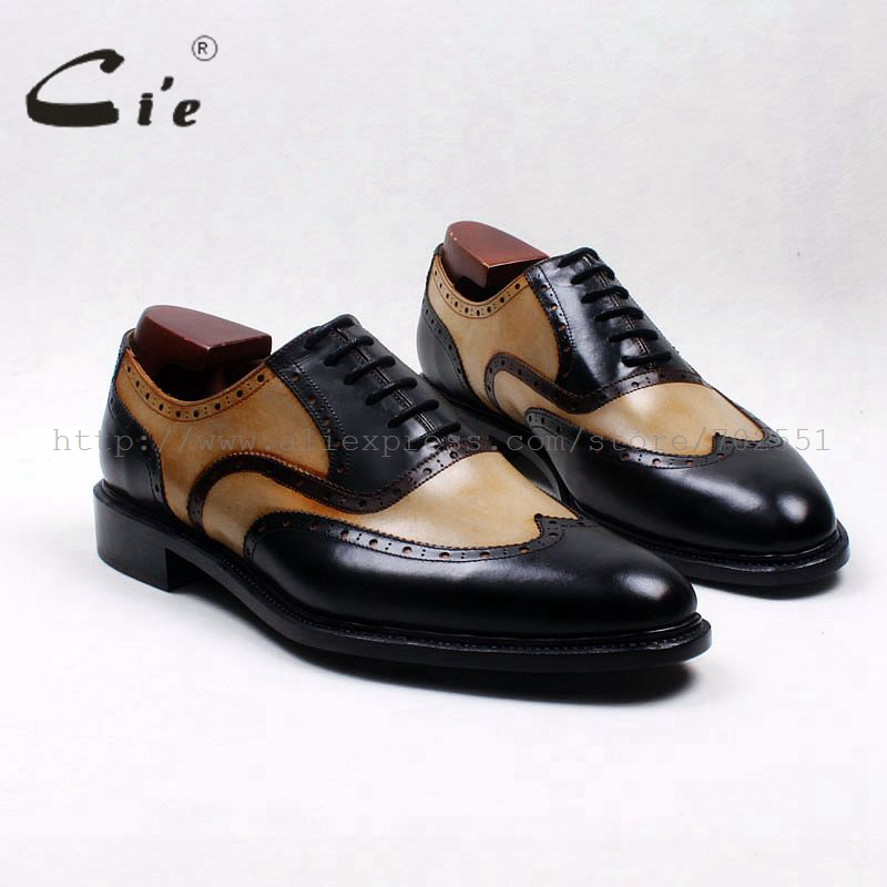 cie round toe wingtips brown black mixed colors 100 genuine calf leather men s shoe goodyear