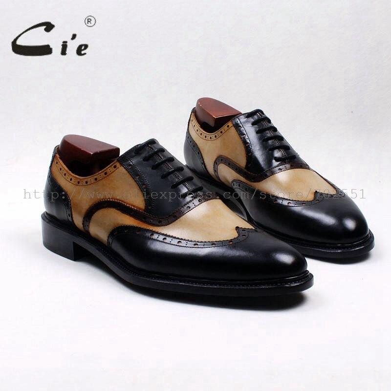 Cie جولة تو wingtips براون أسود مختلط الألوان 100% حقيقية جلد العجل الرجال الأحذية جوديير فيلت مفصل جلد حذاء رجالي OX535-في أحذية رسمية من أحذية على  مجموعة 1