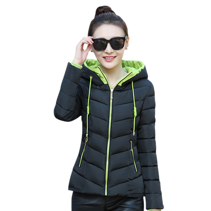jackets women winter Casual thick jacket Cotton coat  female hooded jacket parka pink red white Slim Short outwear 7colors 2XL wadded jacket female short winter coat women slim thin coat removable hooded cotton female parka casual jackets plus size c1118