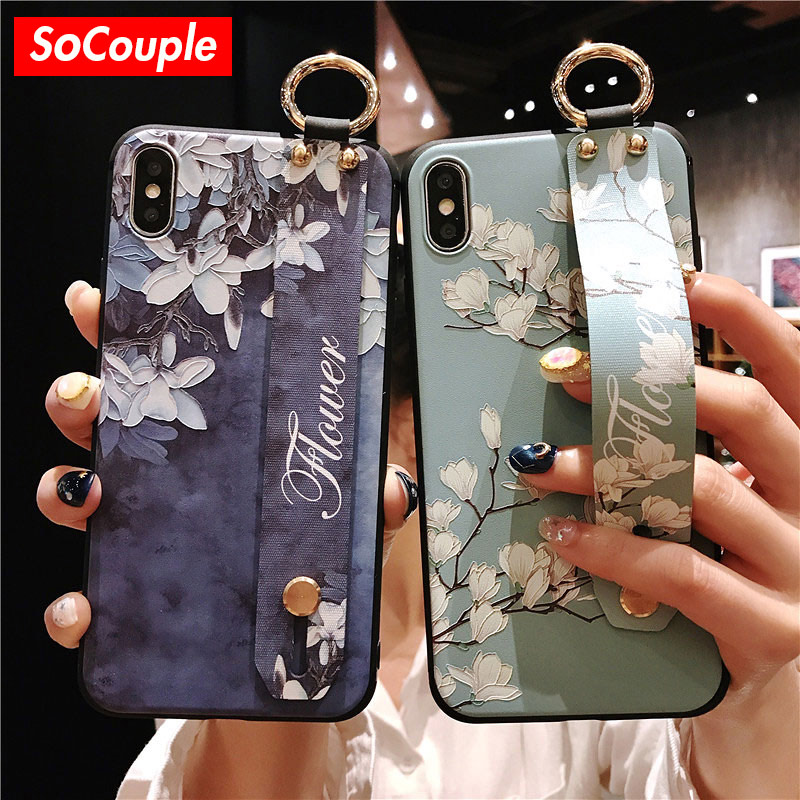 premium selection d5c69 37f7c US $2.61 27% OFF|SoCouple Wrist Strap Phone Cases For iPhone 7 Flower Case  For iPhone 6 6S 7 8 Plus X XS Max XR Matte Soft Silicone Back Cover-in ...