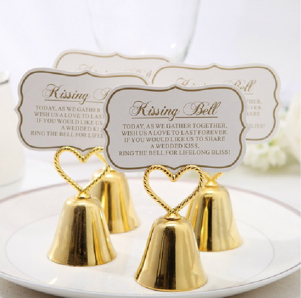 10pcs creative heart bell place card holder with paper card wedding party favors table place cards - Table Place Cards