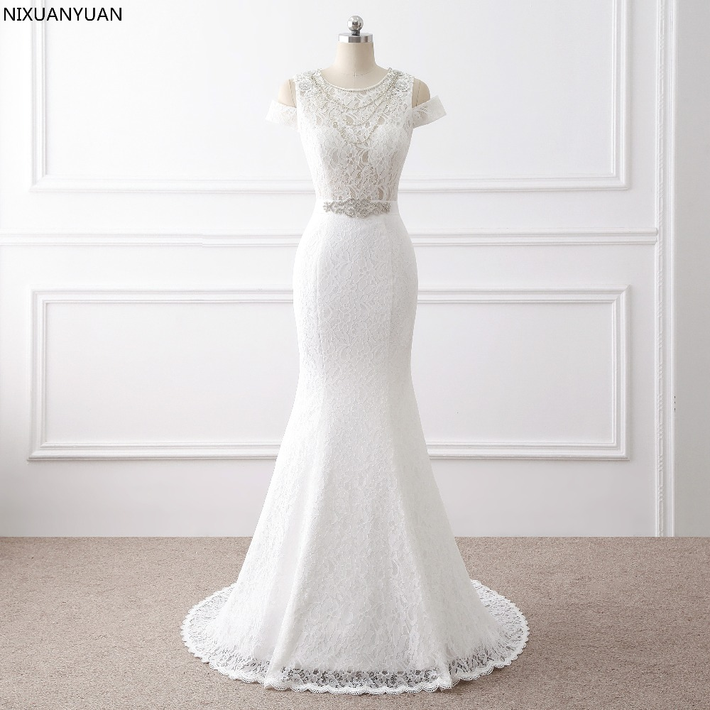 Hot Sale Free Shipping Elegant Beautiful Lace Fowers Mermaid Wedding Dresses Vestidos De Noiva Robe De Mariage Bridal Dress